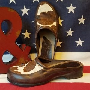 Gorgeous calf hair and leather slip on mule shoe